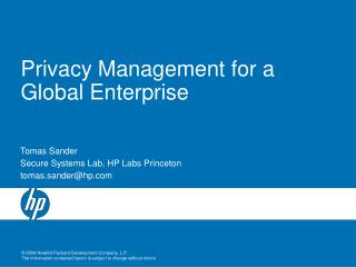 Privacy Management for a Global Enterprise