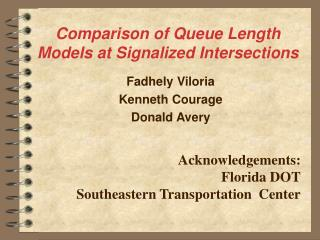 Comparison of Queue Length Models at Signalized Intersections