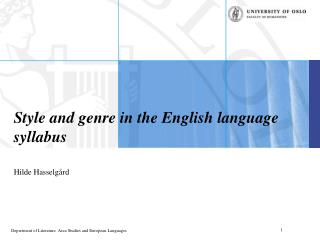 Style and genre in the English language syllabus