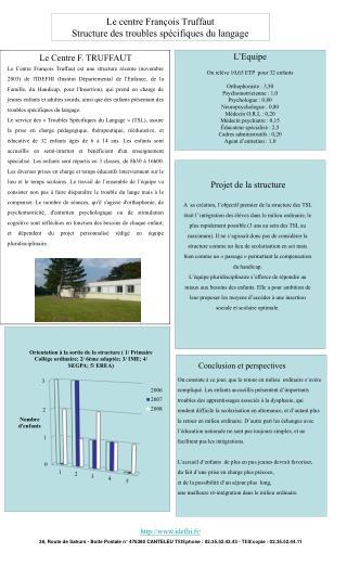 Le centre François Truffaut Structure des troubles spécifiques du langage