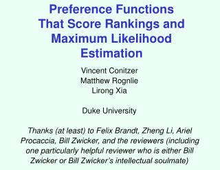 Preference Functions That Score Rankings and Maximum Likelihood Estimation