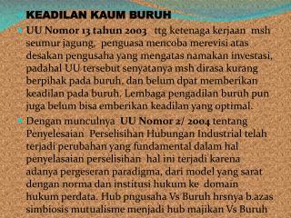 KEADILAN KAUM BURUH
