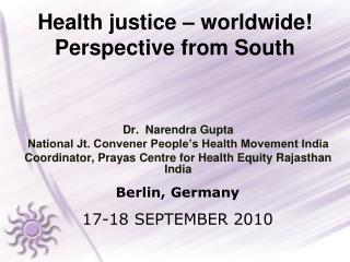 Health justice – worldwide! Perspective from South