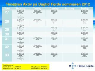 Timeplan Aktiv på Dagtid Førde sommaren 2012