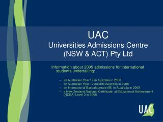 UAC Universities Admissions Centre (NSW & ACT) Pty Ltd