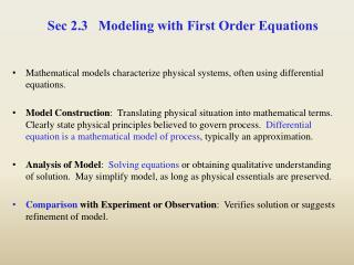 Sec 2.3   Modeling with First Order Equations