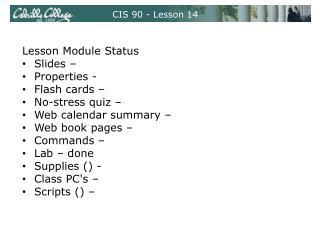 CIS 90 - Lesson 14