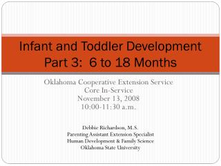 Infant and Toddler Development Part 3:  6 to 18 Months