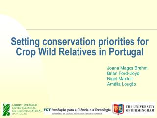 Setting conservation priorities for Crop Wild Relatives in Portugal