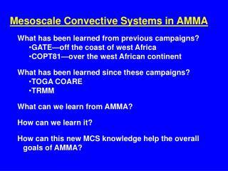 Mesoscale Convective Systems in AMMA