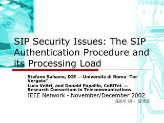 SIP Security Issues: The SIP Authentication Procedure and its Processing Load