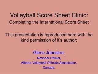 Volleyball Score Sheet Clinic: