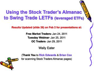 Using the Stock Trader's Almanac to Swing Trade LETFs  (leveraged ETFs)