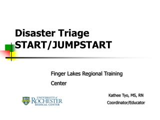 Disaster Triage START/JUMPSTART