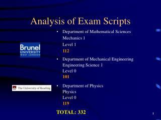 Analysis of Exam Scripts