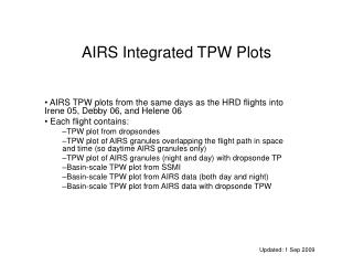 AIRS Integrated TPW Plots