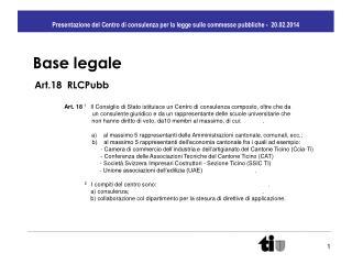 Presentazione del Centro di consulenza per la legge sulle commesse pubbliche -  20.02.2014