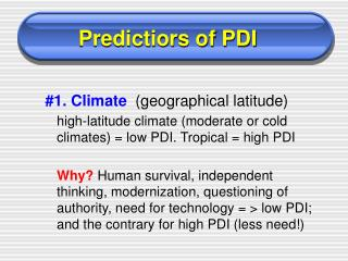 Predictiors of PDI