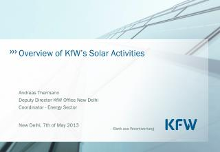 Overview of KfW's Solar Activities