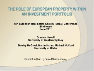 The role of european propErty within  an investment portfolio