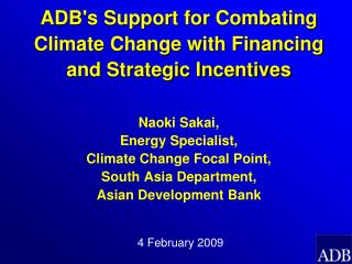 ADB Commends Initiatives of Government of India for combating Climate Change