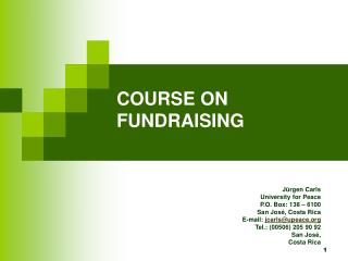 COURSE ON FUNDRAISING