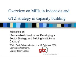 Overview on MFIs in Indonesia and  GTZ strategy in capacity building