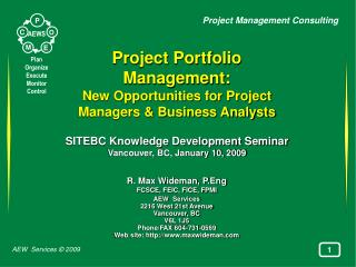 Project Portfolio Management:  New Opportunities for Project Managers & Business Analysts