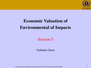 Economic Valuation of  Environmental of Impacts   Session 5  Nathalie Olsen