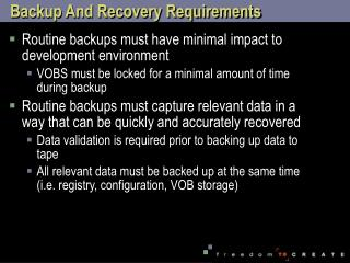 Backup And Recovery Requirements