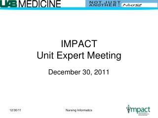 IMPACT Unit Expert Meeting
