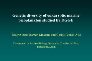 Genetic diversity of eukaryotic marine picoplankton studied by DGGE