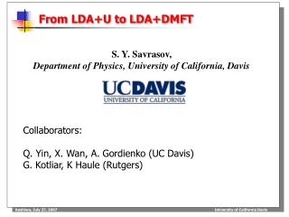 From LDA+U to LDA+DMFT