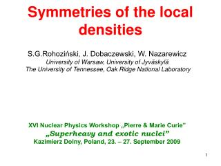 Symmetries of the local densities