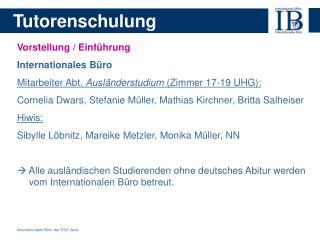 Internationales Büro der FSU Jena