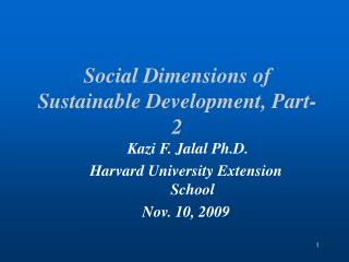 Social Dimensions of Sustainable Development, Part-2