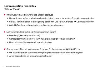 Communication Principles State of the Art