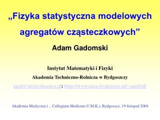 """""""Fizyka statystyczna modelowych agregatów cząsteczkowych"""""""