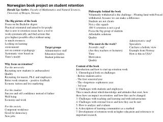 Content of the book Introduction and how to start up retention work