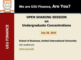OPEN SHARING SESSION  on Undergraduate Concentrations