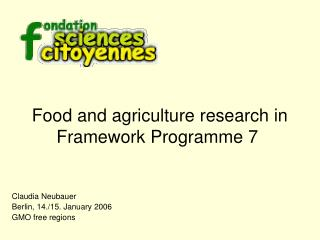 Food and agriculture research in Framework Programme 7