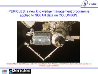 PERICLES: a new knowledge management programme applied to SOLAR data on COLUMBUS.