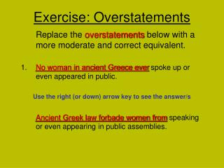 Exercise: Overstatements
