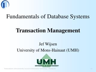 Fundamentals of Database Systems Transaction Management
