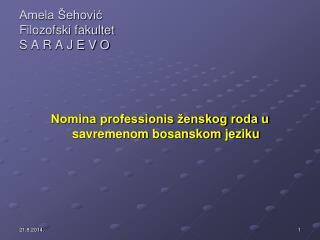 Amela Šehović Filozofski fakultet  S A R A J E V O