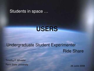 Students in space …