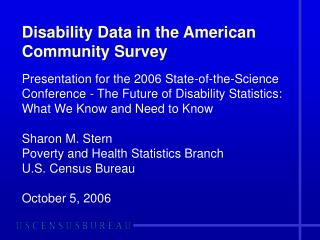 Disability Data in the American Community Survey