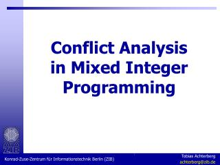 Conflict Analysis in Mixed Integer Programming