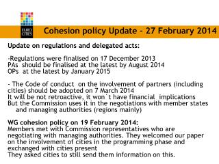 Cohesion policy Update – 27 February 2014
