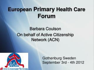 European  Primary  Health Care  Forum